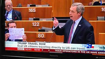Seb Dance Nigel Farage sign