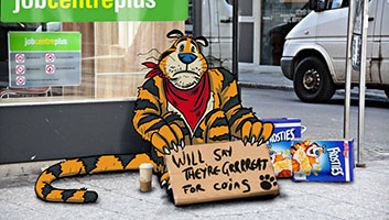 Tony the Tiger outside job centre