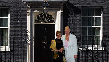 Kim and Aggie at number 10 downing street