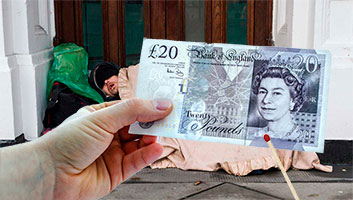 Student burns £20 note in front of homeless man