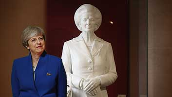 Theresa May and Thatcher statue