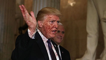 Trump covered in blood