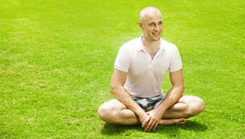 Bald Man obsessed with lawn