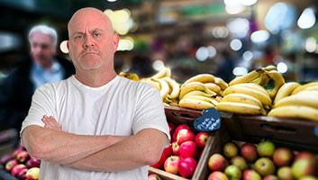 Market stall man on Brexit