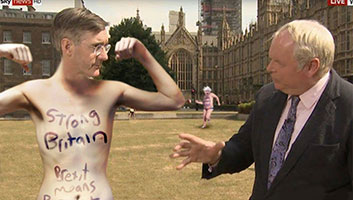 Jacob Rees Mogg nude Brexit protest