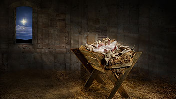 Jesus in a manger staged photo