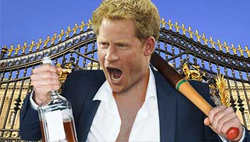 drunk prince harry at the palace