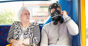 gimp masks on the bus